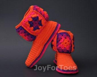 Crochet Women Boots Slippers for the House Orange Violet Granny Square Custom Made