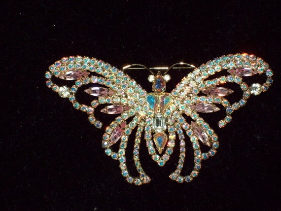 HUGE &  Magnificent Kirks Folly Extra Large Limited Edition Aurora Bourelis Butterfly Brooch with Goldtone Number 52 of 500