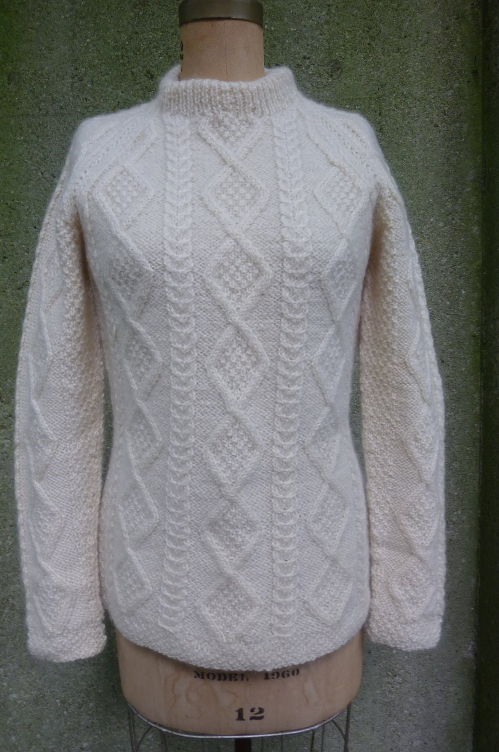Fisherman Knit Sweater Pattern : Aran Irish Fisherman Knit Pullover Sweater Size Small