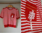 reserved SALE 80s Novelty Red& White Striped Nautical Print with a Pocket Tassels and Epaulettes