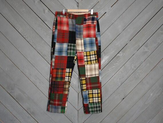 PLAID PANTS / Men's Patchwork WOOL Golf Trousers