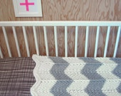 Sale / Knitted Chevron Baby or Lap blanket in Grey & Off-White