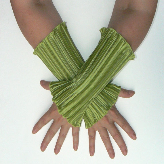 Arm cuffs, wrist warmers, fingerless gloves from shiny lime green satin, Wristlings