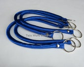 Royal or Sapphire Satin fabric  accessories / handbag strap / purse handle with metal hardware, Sold by the pair.