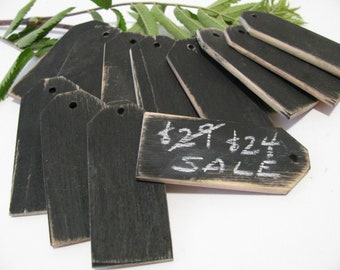 "72 Wood Chalkboard price tags  Reusable 1 1/4""W x 3""L"