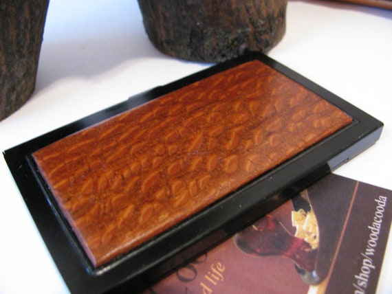 Wood business card case Exotic lacewood and aluminium