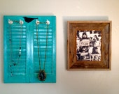 Jewelry holder with black bird, Jewelry rack, jewelry organizer, teal shutter, distressed, accessories
