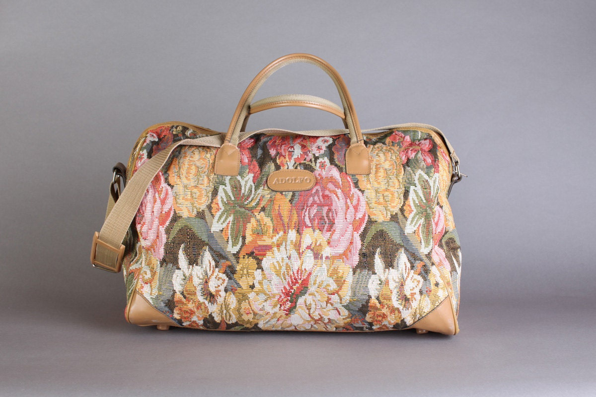 Large Floral Tapestry Duffle Bag Carry On Luggage Weekender