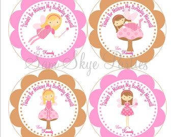 Pink Fairy Favor Tags, Birthdays, Parties DIY Printable File
