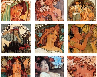 Mucha Digital Collage Sheet - Inchies - 1 inch square - Fine Art - Instant Download