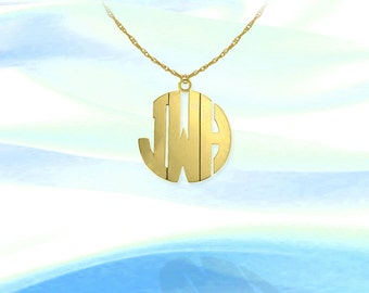 Monogram Necklace - .75 inch Sterling Silver 24K Gold Plated Handcrafted Initial Necklace - Made in USA