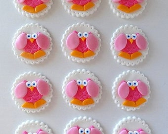 12 Fondant Edible Cupcake/Cookie Toppers - Girly Owls, fondant owl, baby shower, birthday party, kids party, edible owl, baby decorations