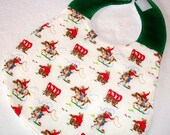 Peggy Patch handmade peg bag style baby bib using Cath Kidston Mini Cowboy print fabric
