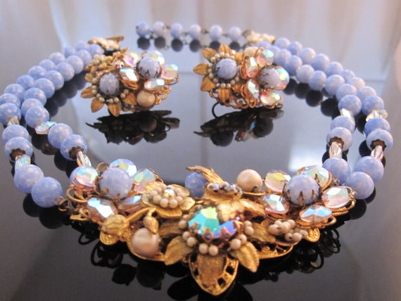 Stunning powder blue ornate vintage necklace and earring set
