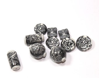 Polymer Clay beads Collection in Black, White and Greys. Unique pattern, Set of 5 different couples