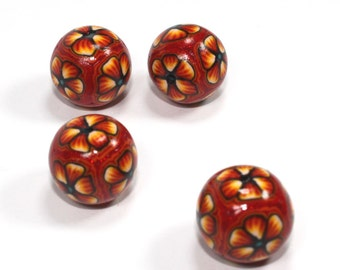 Elegant beads in a variety of orange, yellow and red, Polymer Clay round beads, Millefiori unique beads in flower pattern, Set of 4