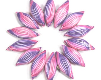 pink and purple stripes leaf shaped Beads, Polymer Clay beads, unique pattern, Set of 14 Marquise beads
