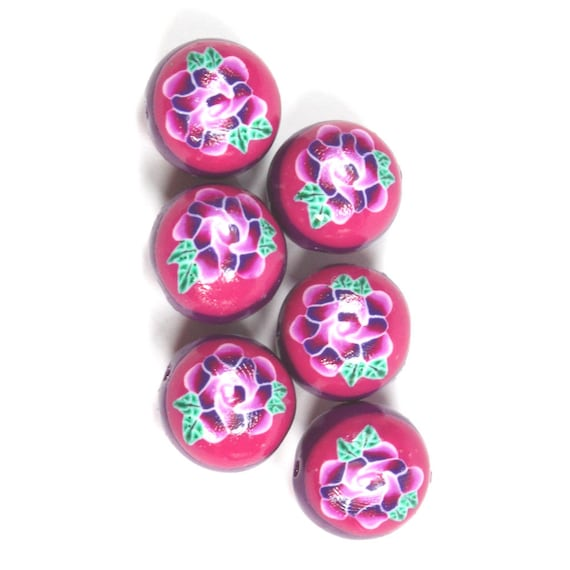 Elegant beads in a variety of pinks, purple and white, Polymer Clay round compressed beads, Millefiori rose beads, Set of 6