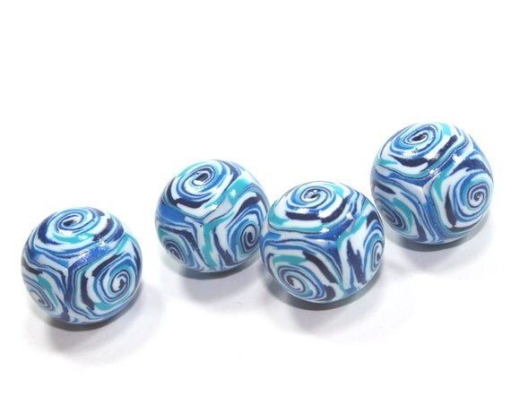 Round beads in blue, polymer clay beads, unique marble pattern beads in blue, turquoise  and white, elegant beads, set of 4