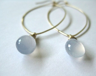 Blue chalcedony earrings, gold filled marquise dangle earrings