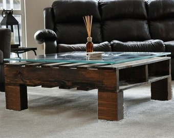 The Indika. Custom (made to order) Dark Stained Coffee Table. Reclaimed pallet wood. Glass NOT INCLUDED. Free Shipping.