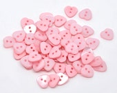Heart Shaped  Resin Plastic Buttons Two Holes Baby Pink 20 Pack PB20