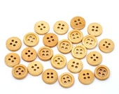 20 Round Wood Button Four Hole Natural Colour 15mm  20 Pack PWB25