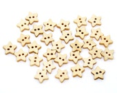100 Mini Star Button Wood Two Hole Lightly Lacquered 13x13mm Pack of 100 PWB67