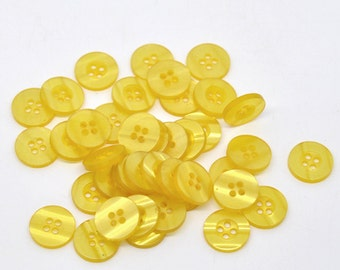 Round Plastic Buttons Four Hole 15mm Translucent Pale Yellow  - 10 Pack PB13