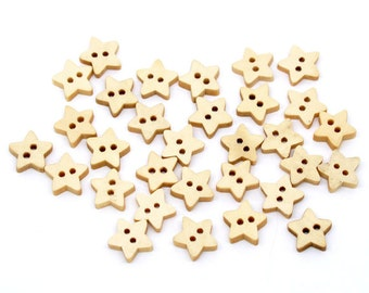 200 Mini Star Button Wood Two Hole Lightly Lacquered 13x13mm Pack of 200