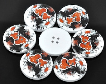 5 White Wood Painted Button Retro Gothic Steampunk Black & Red Heart Four Hole 30mm Pack of 5 WPB55