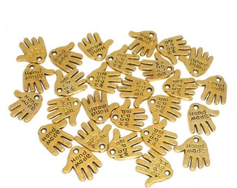 """20 Gold Tone Coloured """"Hand Made"""" Charm Pendant 11mm x 12mm  - Pack of 20 CP53"""