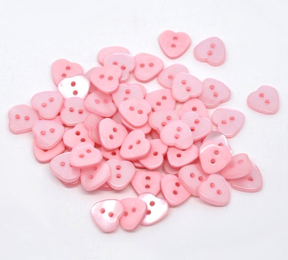 Heart Shaped Wholesale Bulk Resin Plastic Buttons Two Holes Baby Pink 100 Pack PB20
