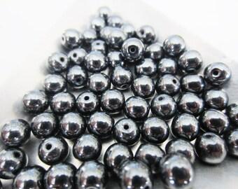 Genuine Hematite 6mm beads QTY 60
