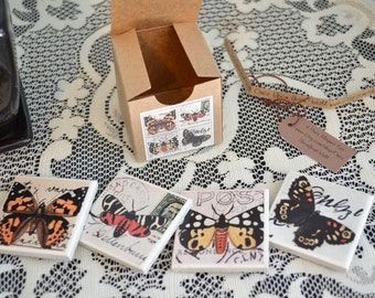 4 piece ceramic tile magnet set in gift box butterflies fridge refrigerator magnet clearance sale