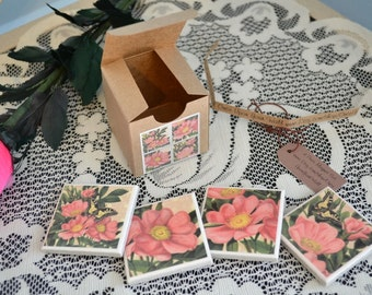 4 piece ceramic tile magnet set in gift box pink flowers butterflies clearance sale