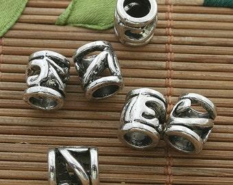40pcs dark silver tone spacer bead h3507