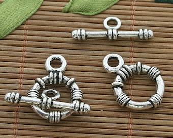 20sets dark silver tone toggle clasp h3527