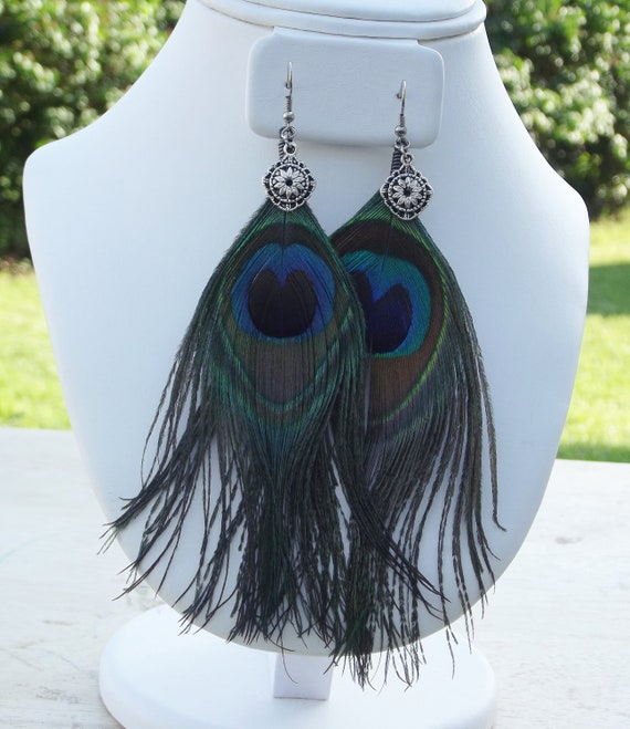 """Handmade Earrings, Natural Peacock Feathers, Sterling Silver, French Ear Wires, Unique, Multi Color, 4 1/2"""" Dangle"""