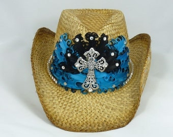 Feather bling cowboy hat