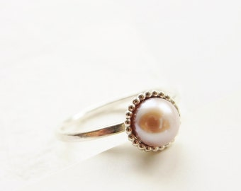 Pearl ring. Romantic ring. Stacking pearl ring. Stacking ring. Engagement ring. Romantic gift.
