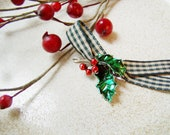 Vintage holly with red berries, steling silver holly charm on green, checkered ribbon, vintage Christmas jewelry with holly and berries