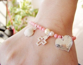 Salmon Pink Coral,  Good Luck charm bracelet with heart, cross and shell charms