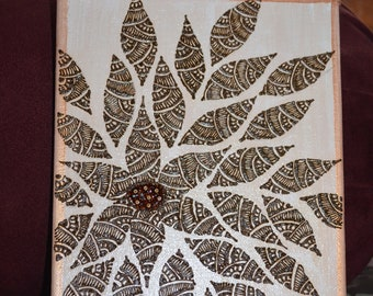 Petals all over hennaed canvas 10 in x 8 in.