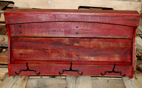 SALE...Red Display Shelf with Hooks from Reclaimed Wood