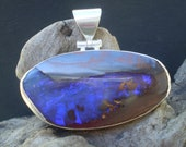 Handmade Australian boulder opal unique sterling silver pendant