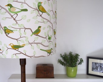 handmade fabric lampshade for standard lamp scandinavian birds