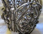 Statement Vintage Sterling Silver Chunky Nubbed Cuff Bracelet
