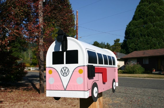 Pink Volkswagen Bus Mailbox by TheBusBox Custom made - Choose your color - SplitBusBox