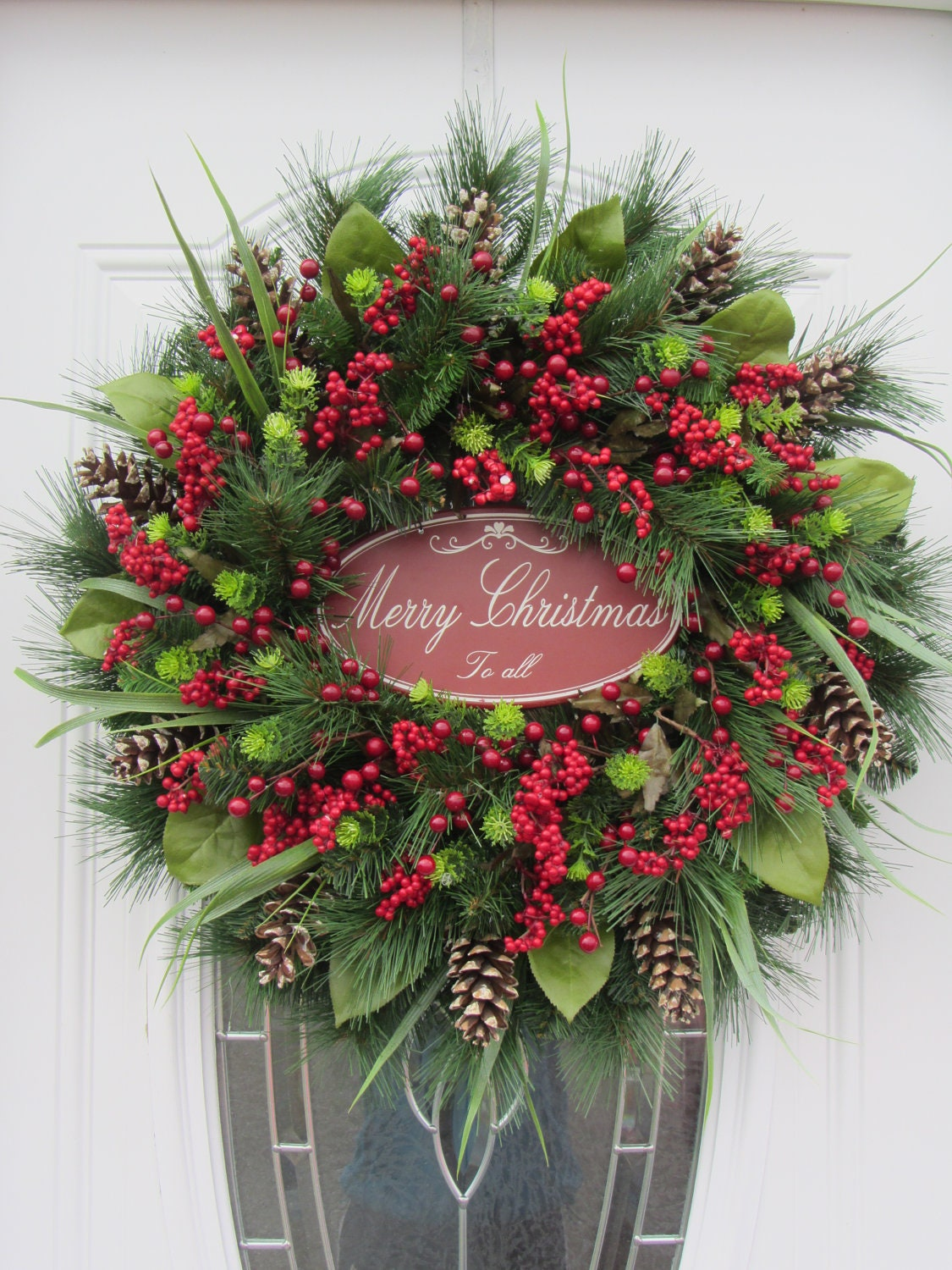 Christmas door wreath holiday wreath pine wreath winter for Door garland christmas
